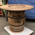 Pub table made from Crown Royal barrel