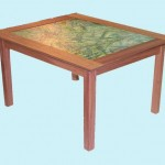 Mahogany table built to display artist's painting, stretched canvas under glass